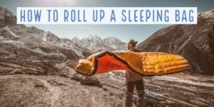 how to roll up a sleeping bag process